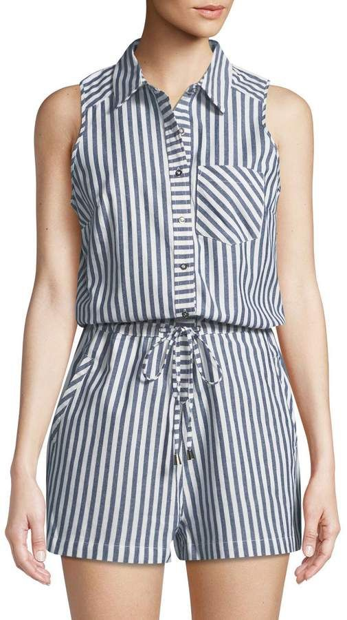 2d14bce0b75b Dex Striped Cotton Shirting Romper