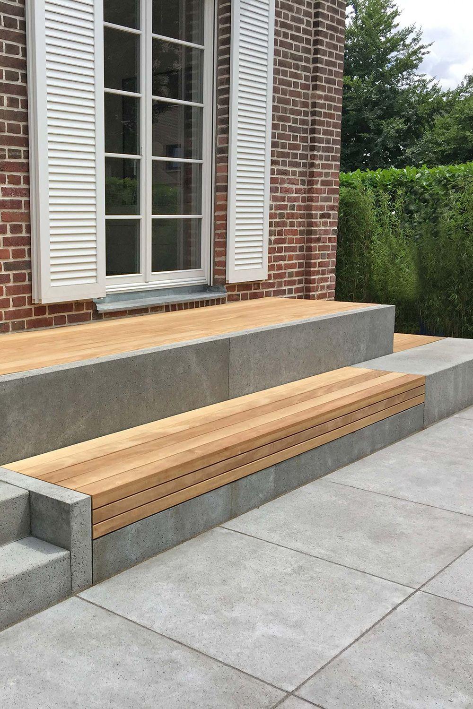 Terrasse und Sitzbank aus Holz und Beton   Terrace garden, Outdoor ...