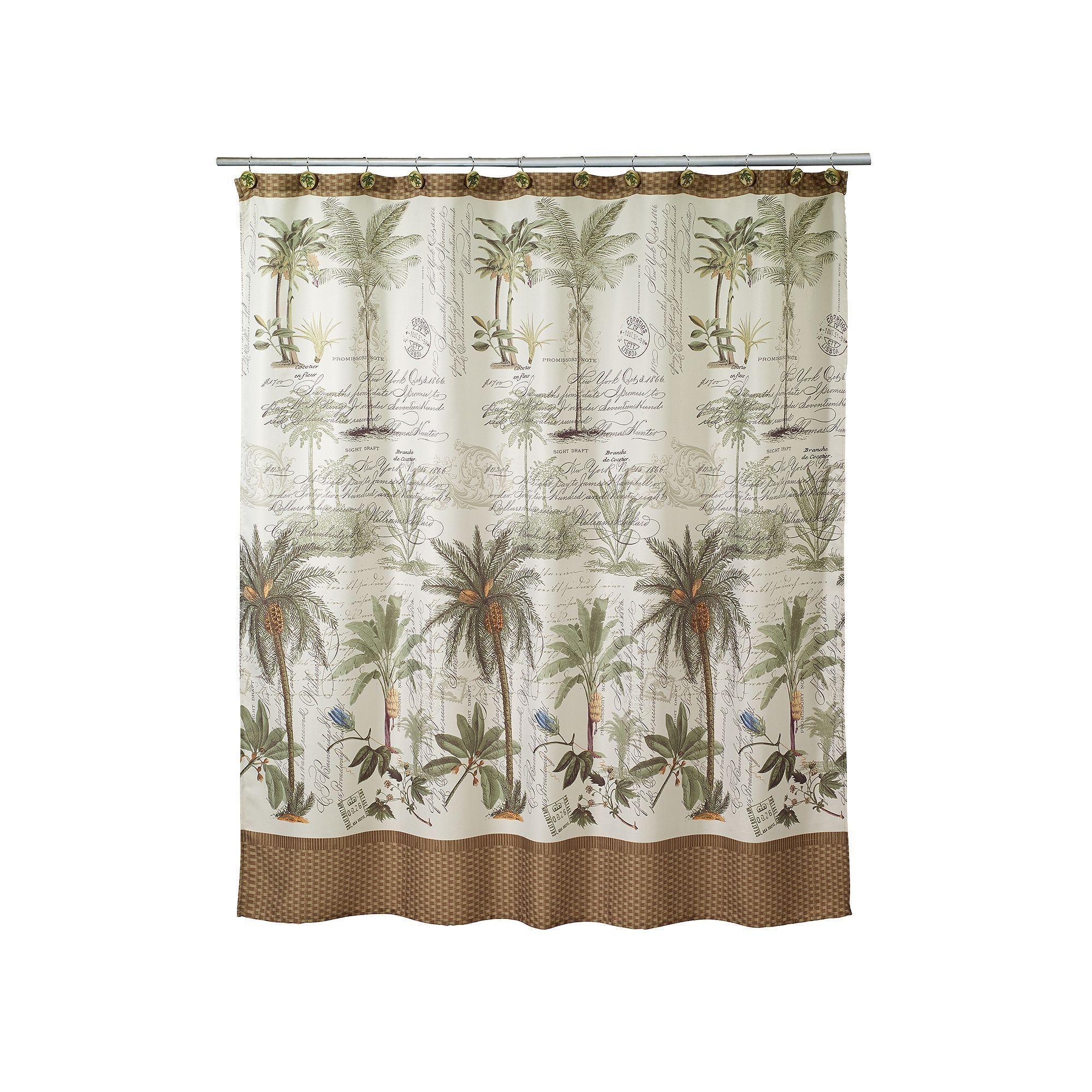 Avanti Colony Palm Fabric Shower Curtain White With Images