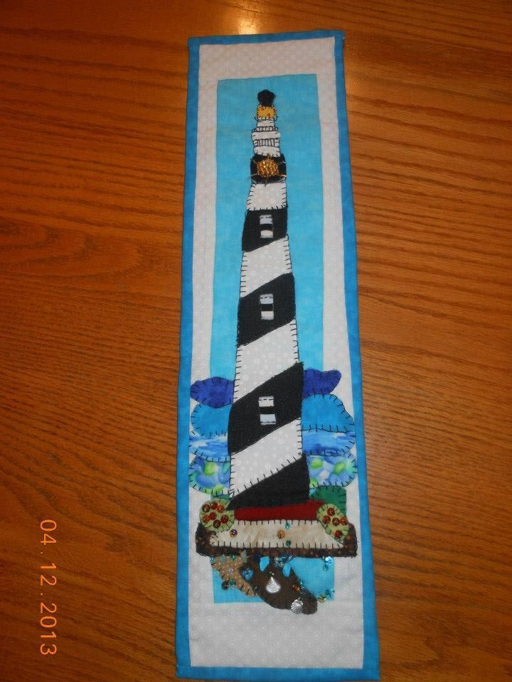 Hatteras Lighthouse pattern and wall hanging made by Needlework from Deb