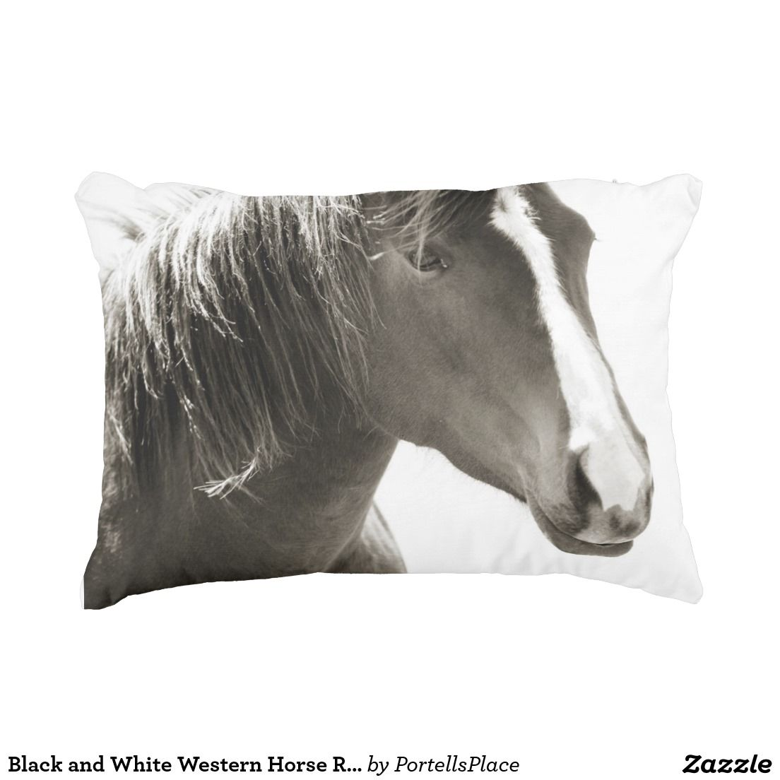 #BlackandWhite #Western #Horse Rectangle #Pillow