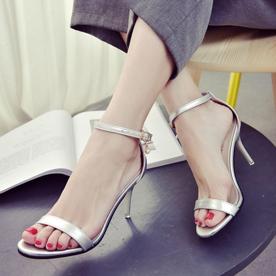 7046e3e6b943 Discover ideas about Cheap Sandals. Plain Chunky High Heeled Velvet Ankle  Strap Peep Toe Date Office Sandals-Berrylook