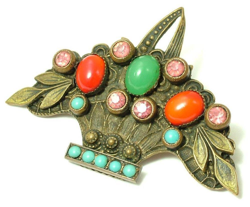 Antique/ estate art deco 1930s czech style, paste flower basket brooch/ pin