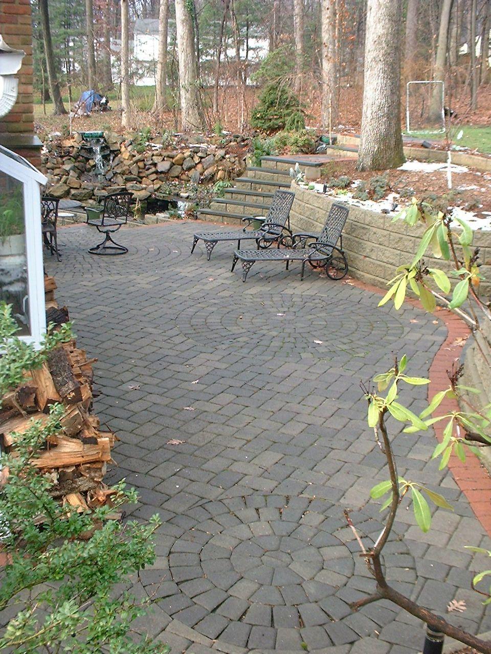 Concrete Patio Edge Ideas: Brick Paver Patio Herringbone Edge