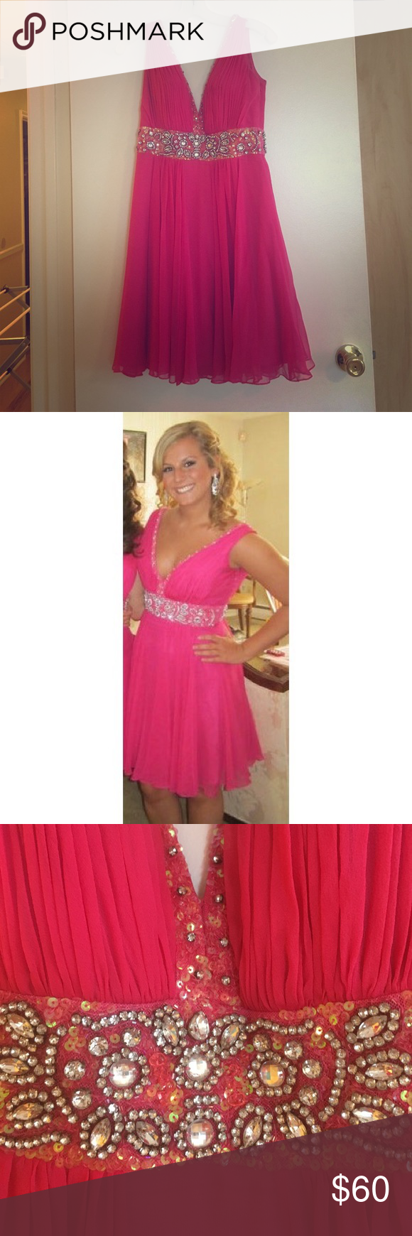 Pink dress to wear to a wedding  Beautifully embroidered hot pink dress  Hot pink dresses Jovani