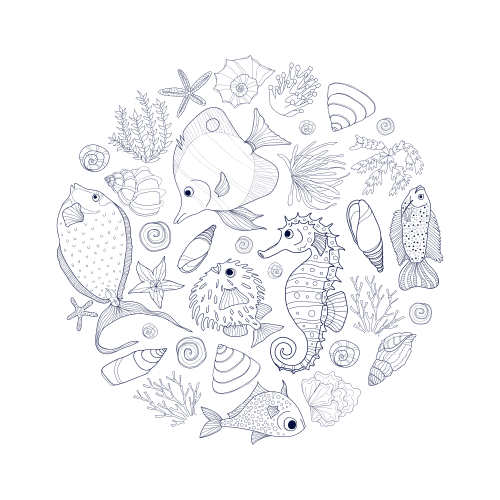Under The Sea Coloring Page | Beautiful fish, Ocean and Earth