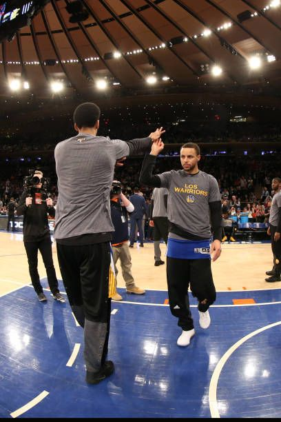 Stephen Curry of the Golden State Warriors is introduced before the game against the New York Knicks on March 5 2017 at Madison Square Garden in New...