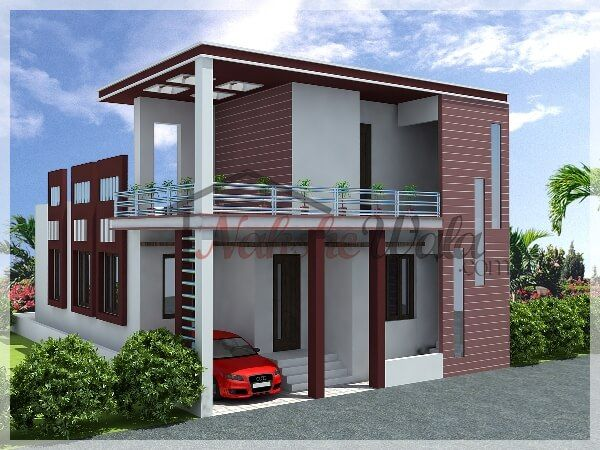 Single storey elevation 3d front view for single floor for Independent house front elevation photos