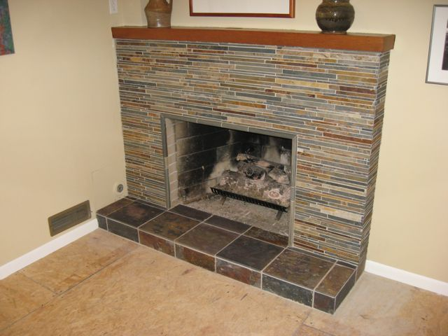 Covering marble fireplace with slate tile google search - Tile over brick fireplace ...