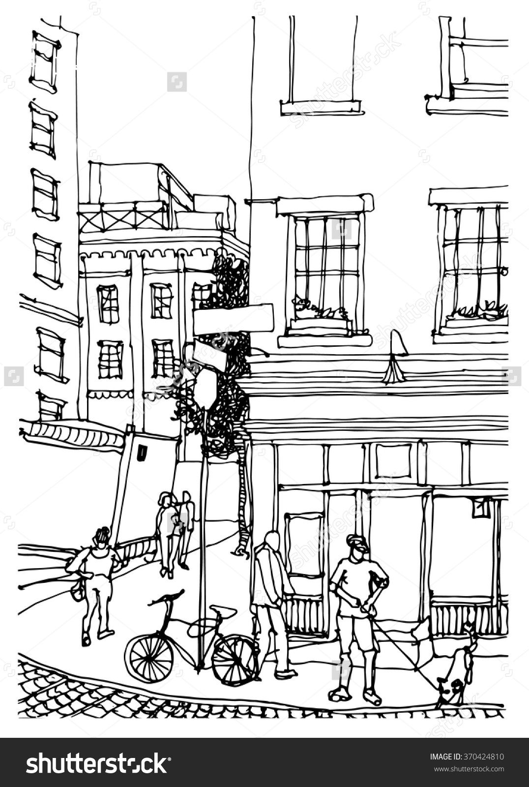 Scene Street Illustration Hand Drawn Ink Line Sketch New York