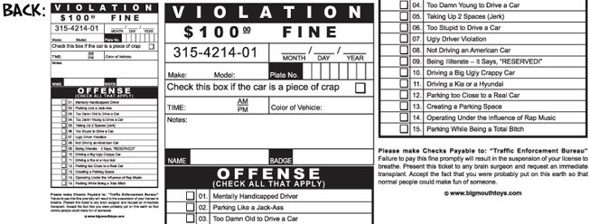 pack of Fake Parking Tickets $498 Gifts Pinterest Bro - free ticket maker