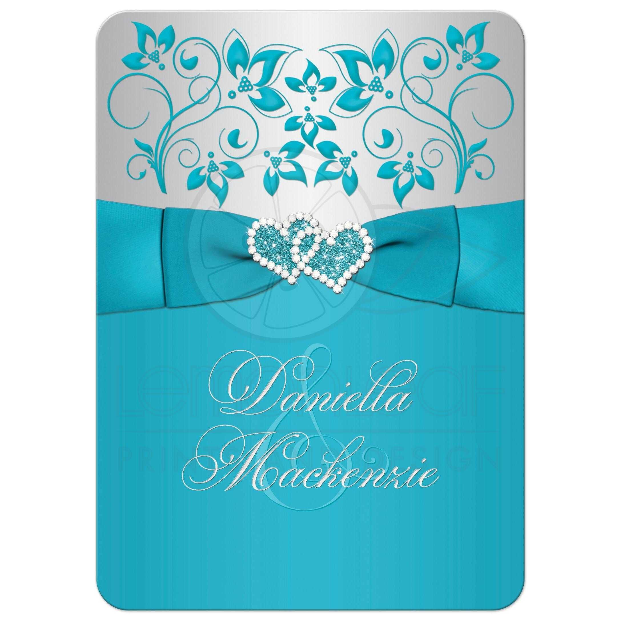 Wedding Invitation Turquoise Silver Floral Printed Ribbon Joined Jeweled Hearts Christian Wedding Invitations Teal Wedding Invitations Wedding Invitation Card Template