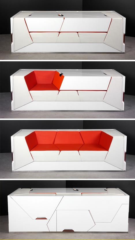 Small space design at its finest, Boxetti is back with the ultimate modular living  room furniture set - an entire collection of designs including storage ... - A Table That Turns Into A Sofa With Foot Rests And An Office In