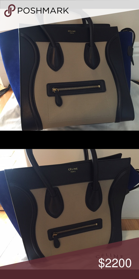 Celine Luggage Bag Almost new Celine Luggage bag in leather with blue suede  sides Celine Bags Shoulder Bags 14e96d19c3