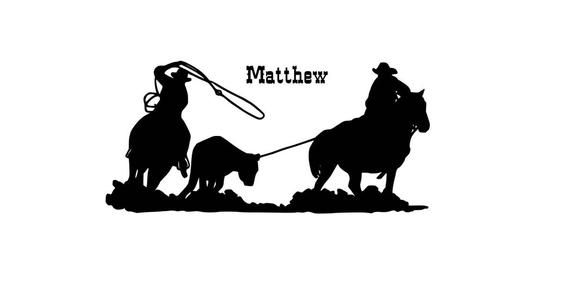 Custom decal sticker with your name and location Team Roping