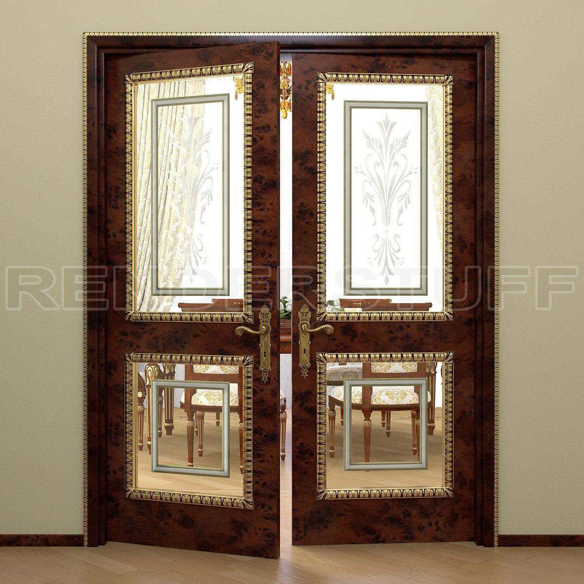 Free Rich Interior Door With Glass Inserts 3d Model Rendering Image