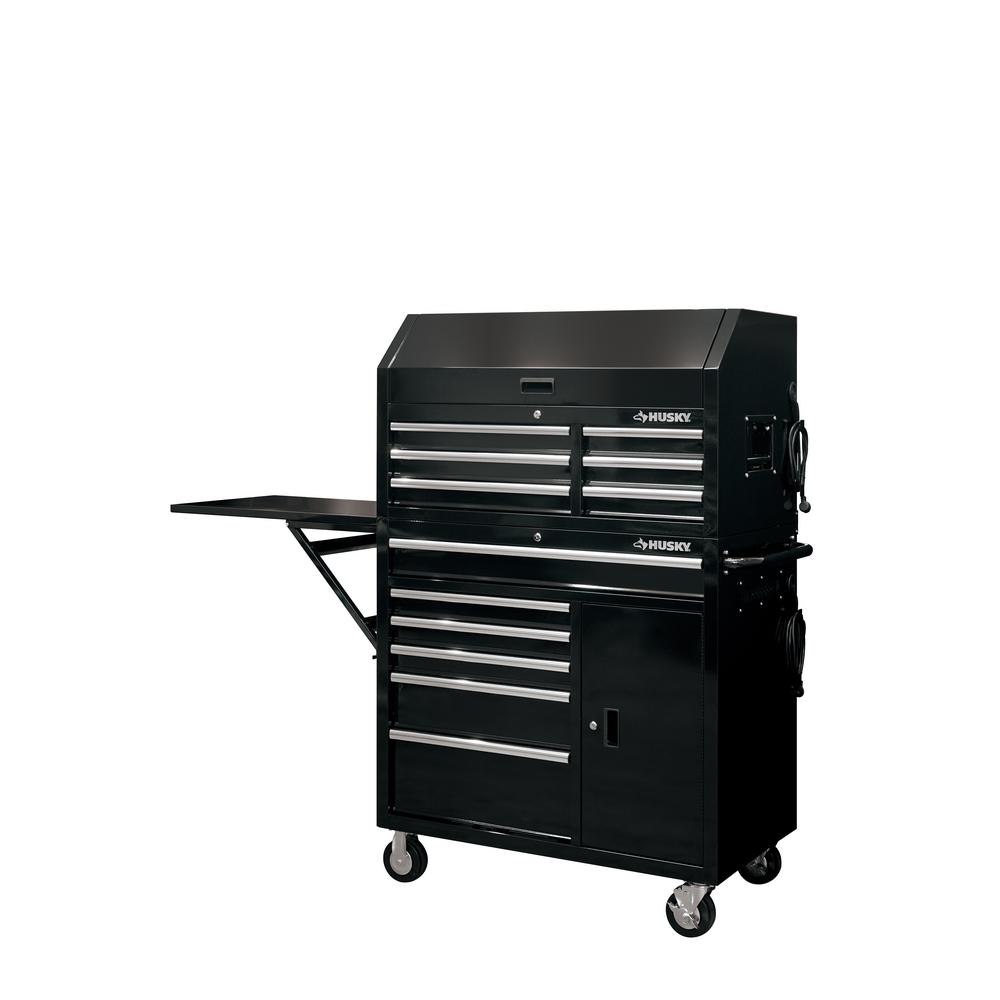 Husky 41 In W 12 Drawer Deep Combination Tool Chest And Rolling Cabinet Set In Gloss Black With Side Table Hotc4112b12s The Home Depot Tool Chest Tool Storage Mechanics Tool Set
