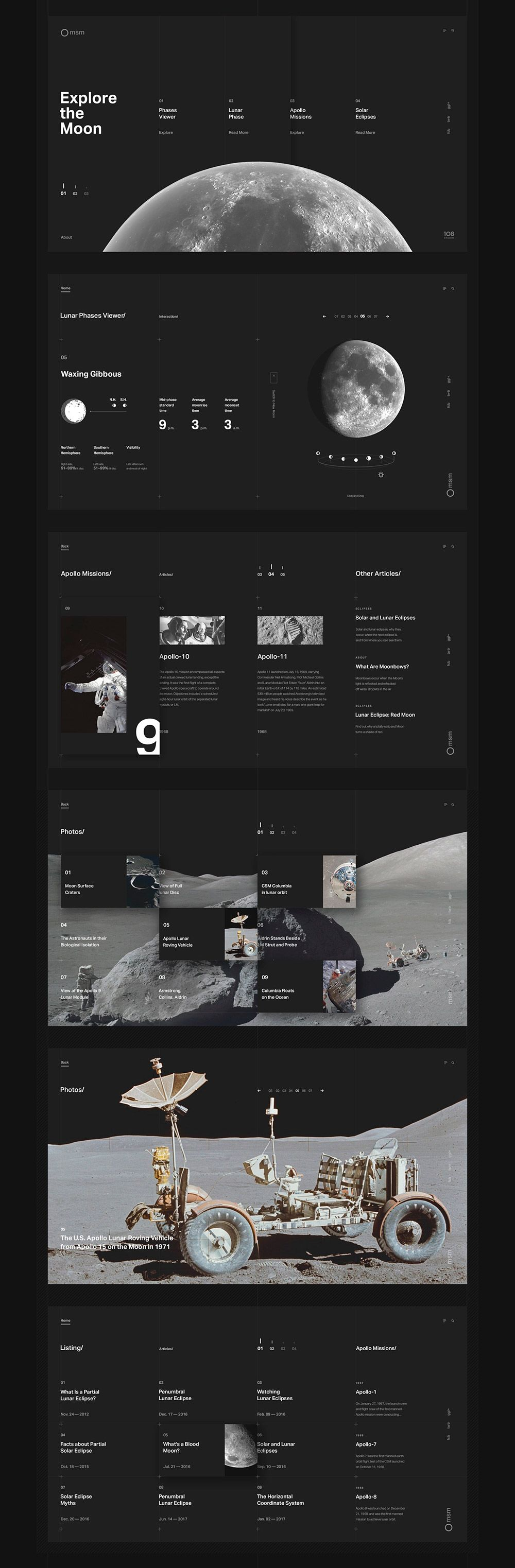 Explore the Moon Project: Web Design + Cinema 4D | HeyDesign