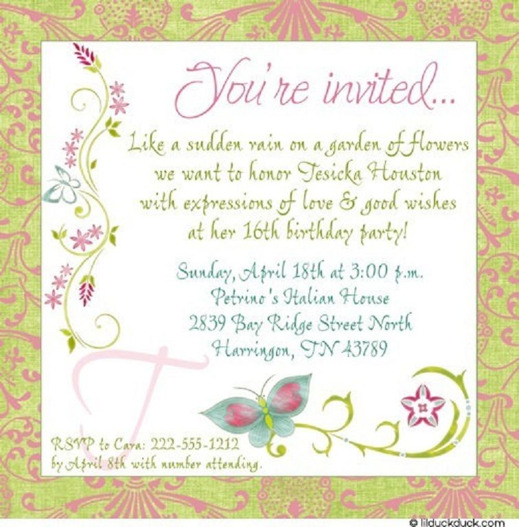 Butterfly Birthday Invitation Wording Golon Wpart Co