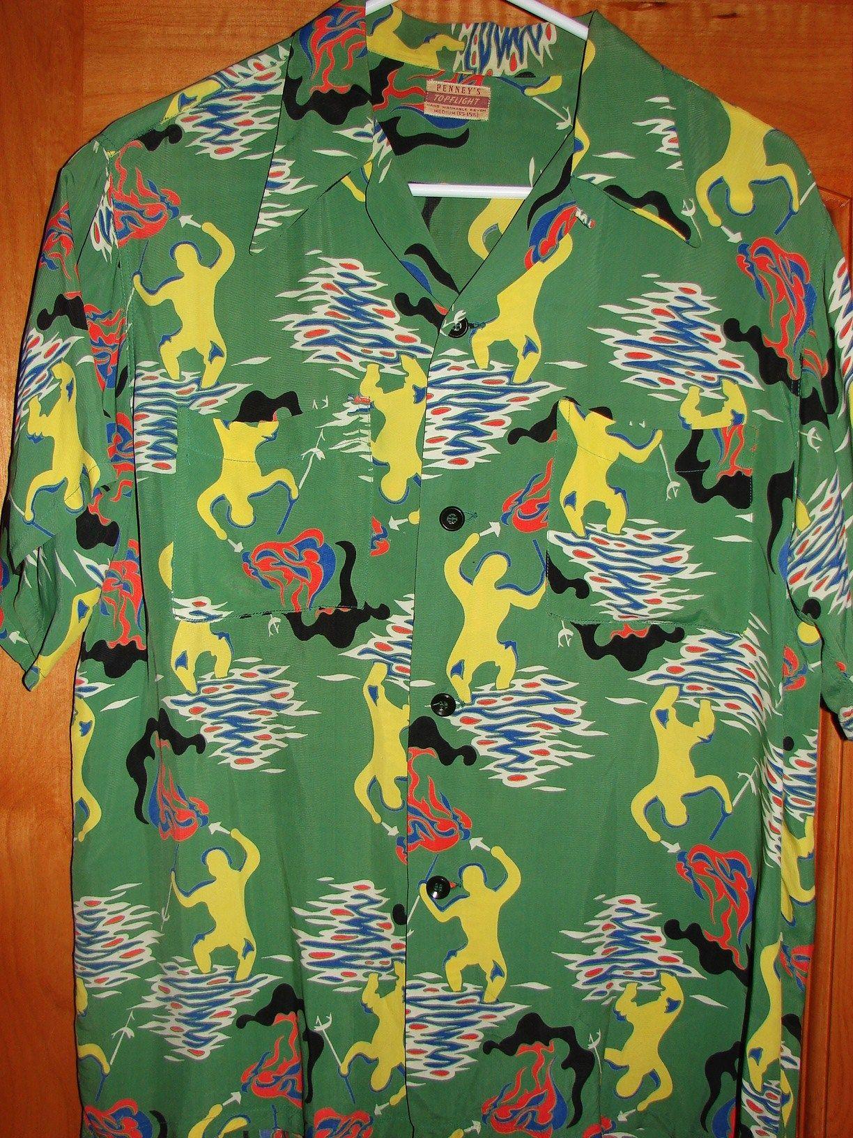 f5c1f1e9 Penny's - 40s Torch Fisherman Rayon Vintage Aloha Shirt - TheHanaShirtCo