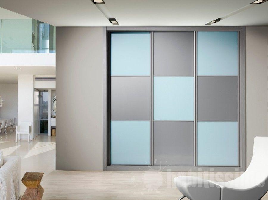 Aparador E Adega ~ Frente de armario de tres hojas deslizantes, modelo japonés, combinando cristal lacado azul y