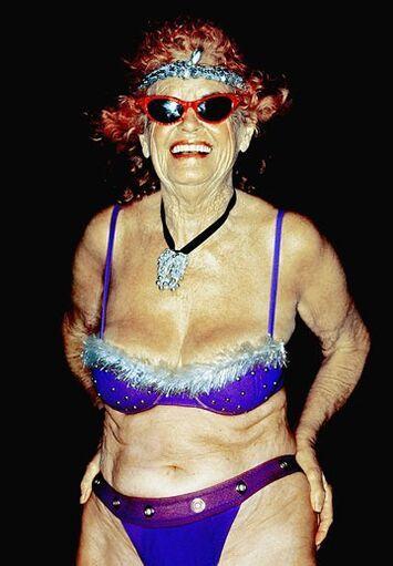 Old Lady in Bikini Funny Birthday Card