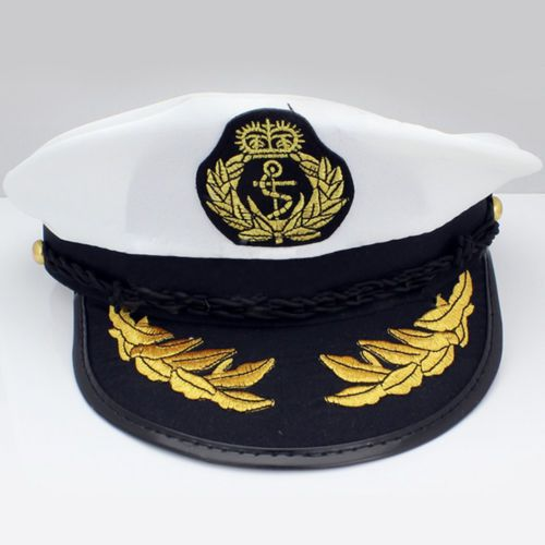 3c306874e82 Sailor ship boat captain hat navy marins  admiral  adjustable cap  white