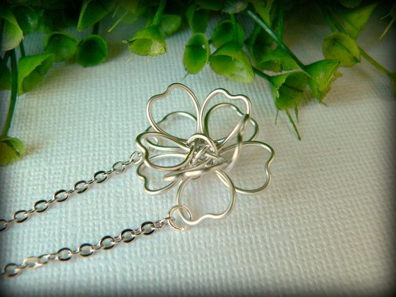 Wire Flower Silver Necklace, White Gold Plated