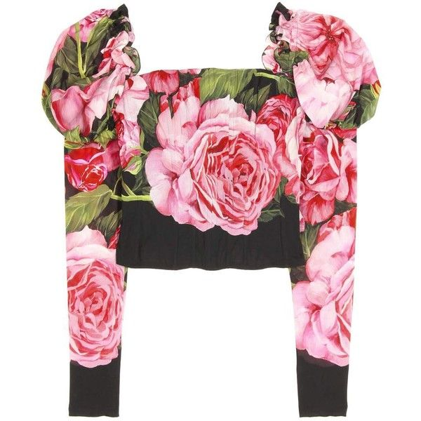 Dolce & Gabbana Silk-Blend Top (32.450 ARS) ❤ liked on Polyvore featuring tops, long-sleeved, multicoloured, colorful tops, multi color tops, dolce gabbana top, pink long sleeve top and pink top
