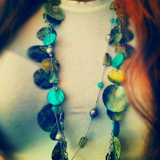 Teal/turquoise shell necklace--from Kohls