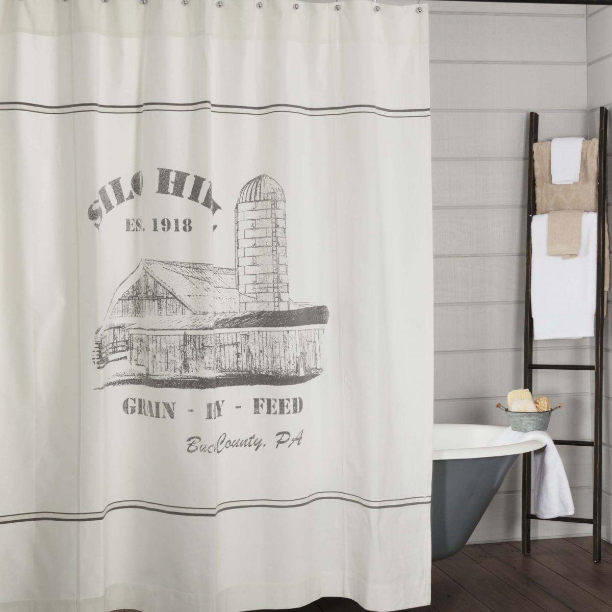 Silo Hill Shower Curtain Farmhouse Style Bathroom Decor