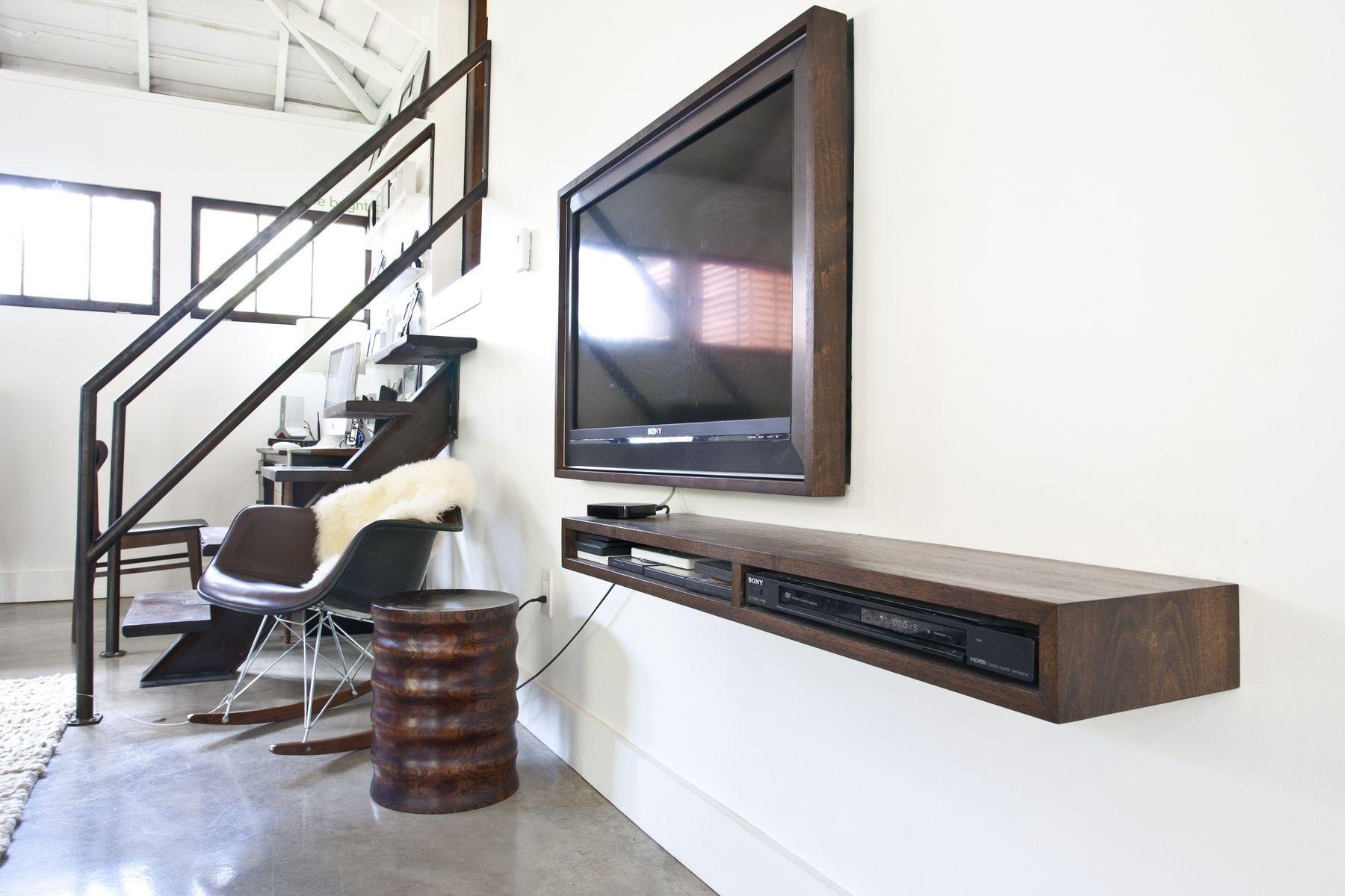 Storage wood floating media shelves design - Statue Of Floating Media Shelf Design