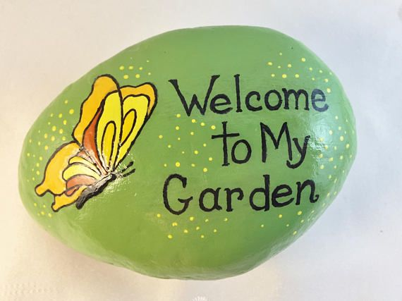 Garden,Garden Decor,Butterfly,Painted Rock,Rock Art,Home Decor,Painted Stone,Stone Art,Saying,Welcome To My Garden,Garden Art,Paper Weight
