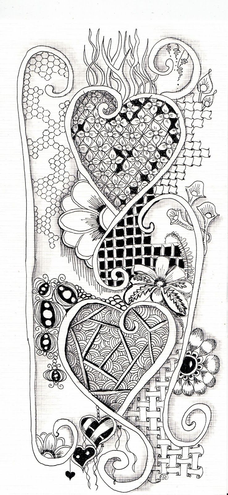 Hartjes Zentangle Drawings Love Coloring Pages Zentangle Patterns