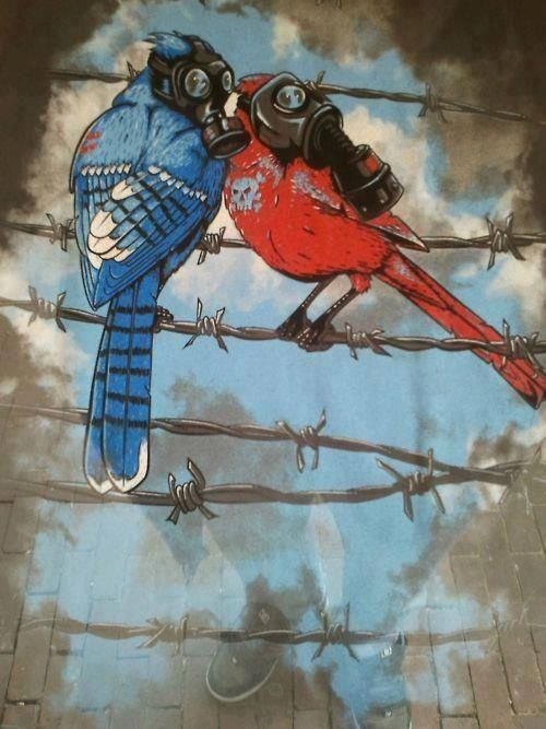 Gas mask birds on a wire.. | Art | Pinterest