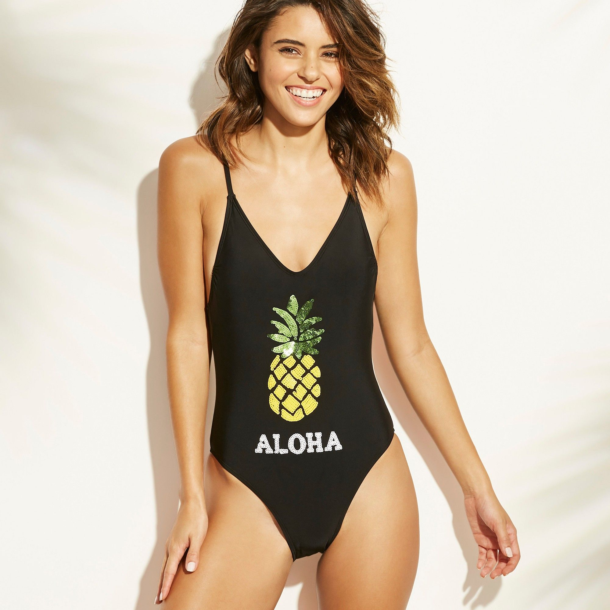 5d426389d71 Women's Sequin Pineapple Scoop Back One Piece Swimsuit - Xhilaration ...