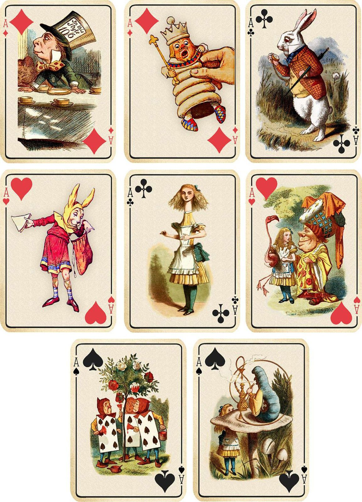 Vintage Inspired Alice In Wonderland Ivory Playing Cards Tags Atc Altered Art Alice In Wonderland Illustrations Alice In Wonderland Vintage Alice In Wonderland