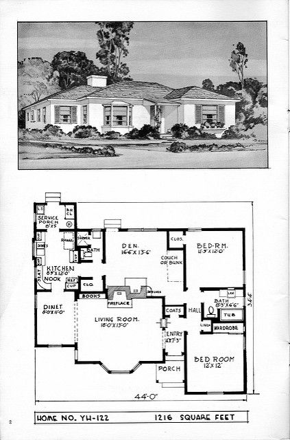 1940's House Plans | Bungalow house plans, House plans, Facade house