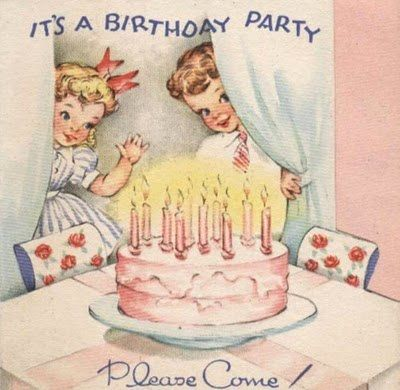 bday party ヴィンテージクリスマスカード vintage birthday