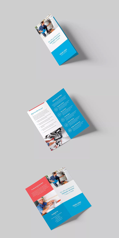 Plumber BiFold DL Brochure Template PSD DL Size Brochure - Dl size flyer template