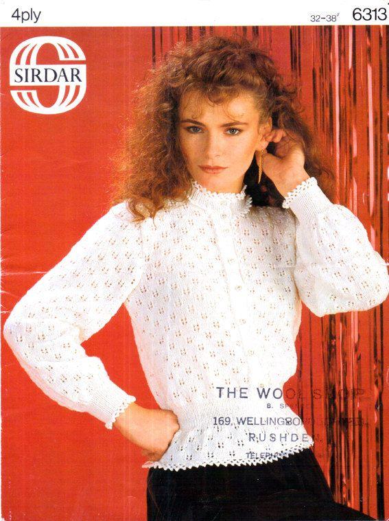 8212aefc223 Genuine Vintage 1980s SIRDAR 6313 Ladies Very Lacy High Collared ...