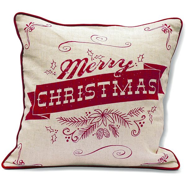 """Punch Studio Homestead Holidays """"Merry Christmas' Throw Pillow ($28) ❤ liked on Polyvore featuring home, home decor, holiday decorations, christmas holiday decorations, christmas home decor, christmas holiday decor and holiday decor"""
