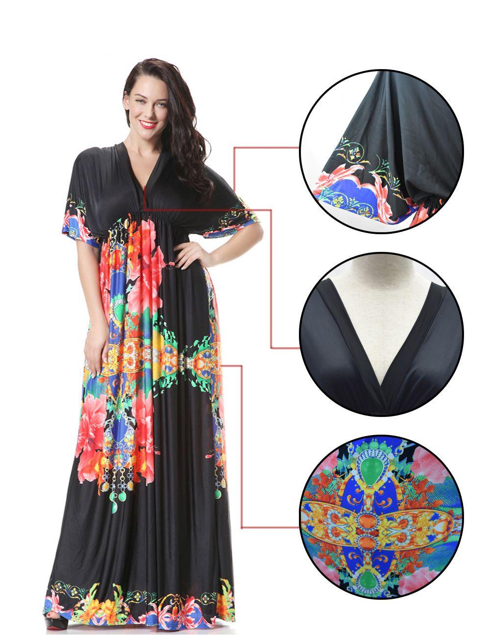 Casual Women Plus Size Flower Girl Dress Short Sleeve Black ...