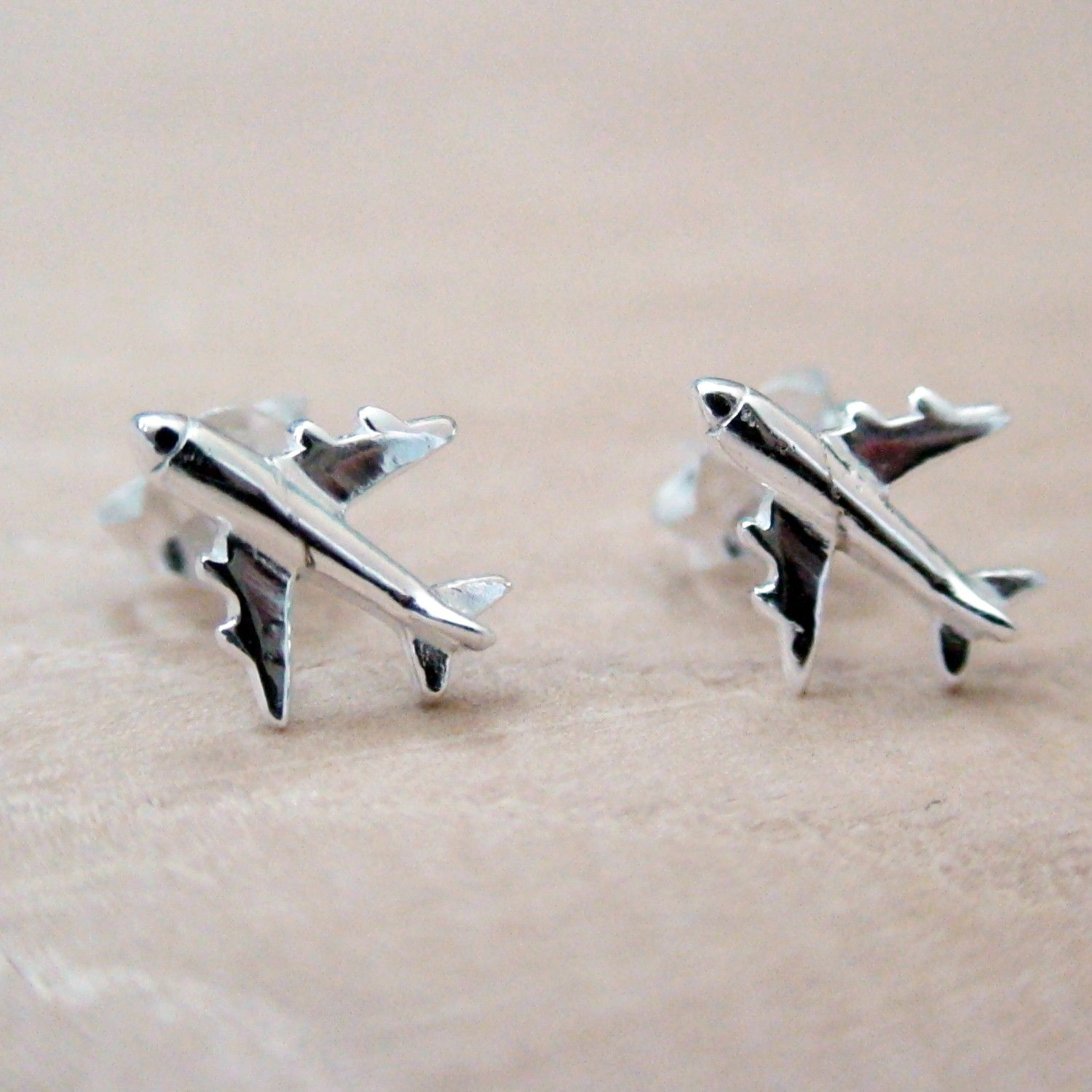 Sterling Silver Airplane Earrings e0uRw6feD