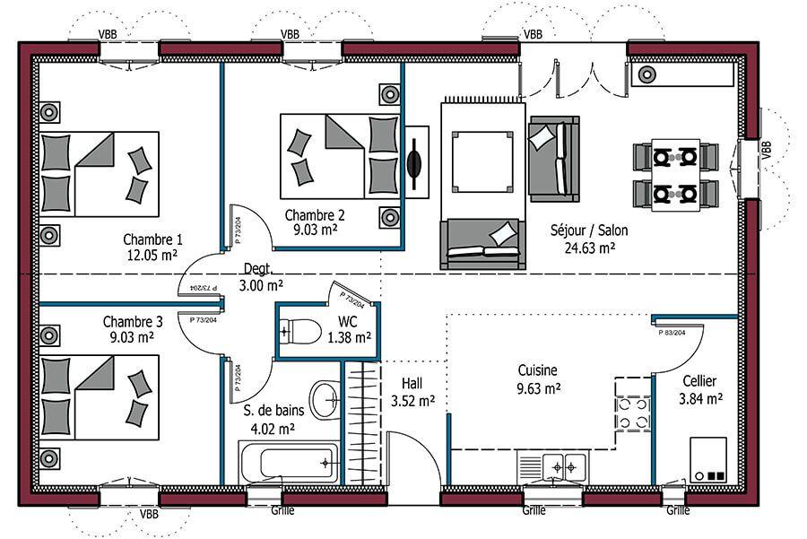 Mod le d sir e plan maison de 80m avec 3 chambres maison personnalisable 3 chambres 80m - Mca maisons de la cote atlantique ...