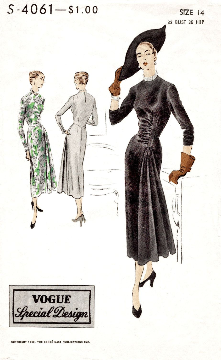 1940s 1950s dress vintage sewing pattern LBD cocktail frock cascade ...