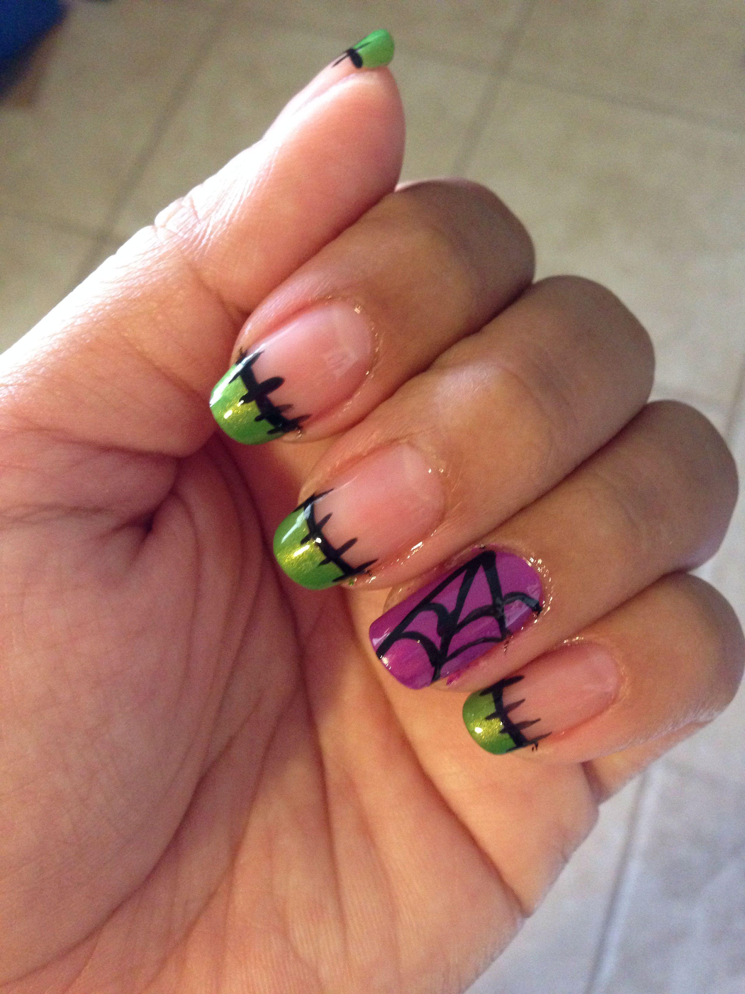 Halloween nails! Frankenstein and purple spider web ...