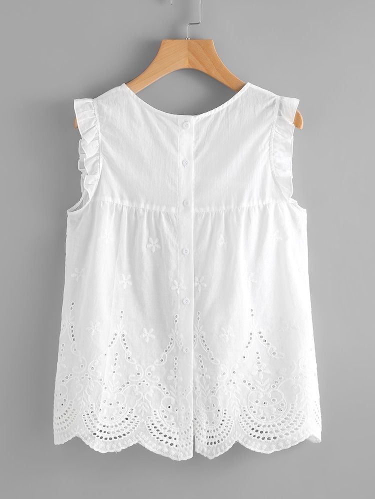 a2e548a5f1e Cheap Eyelet Embroidered Scallop Hem Frilled Shell Top for sale Australia |  SHEIN