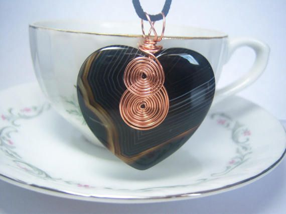 Heart shaped black agate copper wire wrapped stone pendant necklace heart shaped black agate copper wire wrapped stone pendant necklace chic boho trendy jewelry aloadofball Images