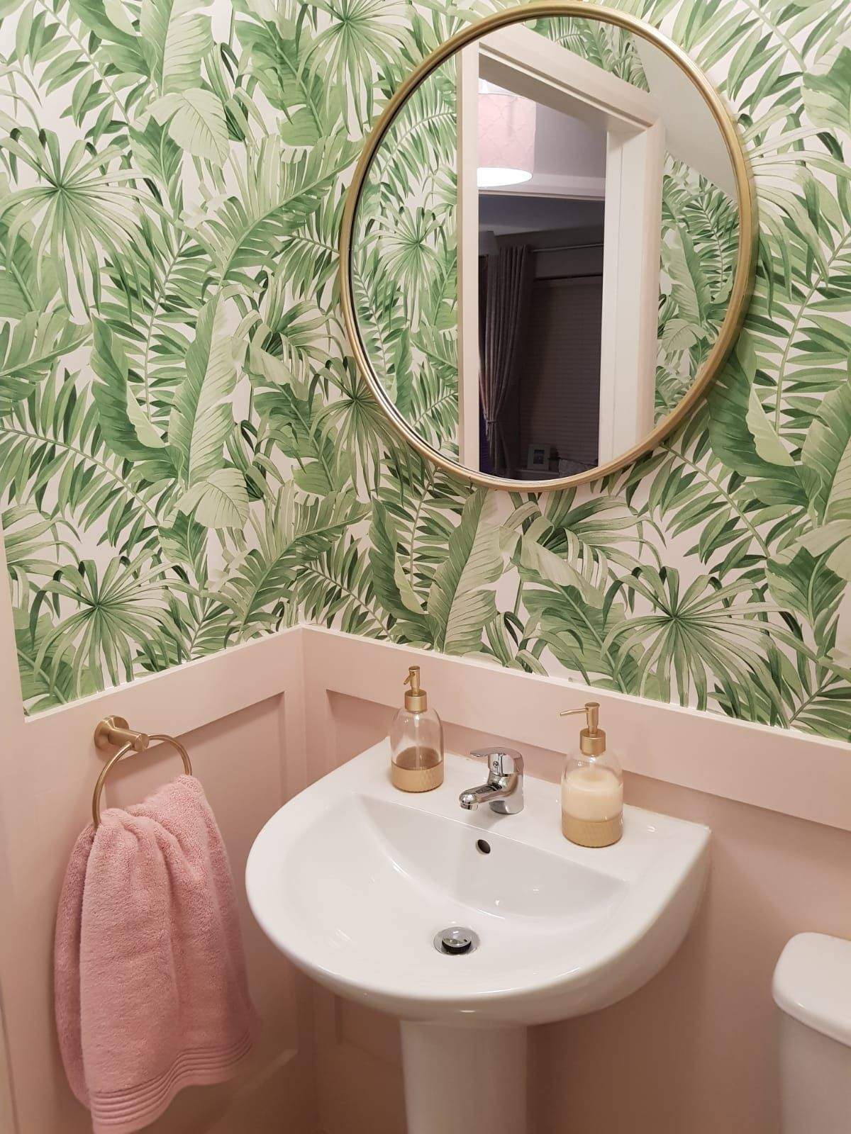 Pink And Green Downstairs Bathroom